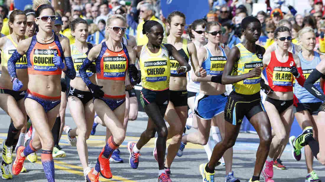 The scene at the start of the elite women's division of the Boston Marathon on Monday.