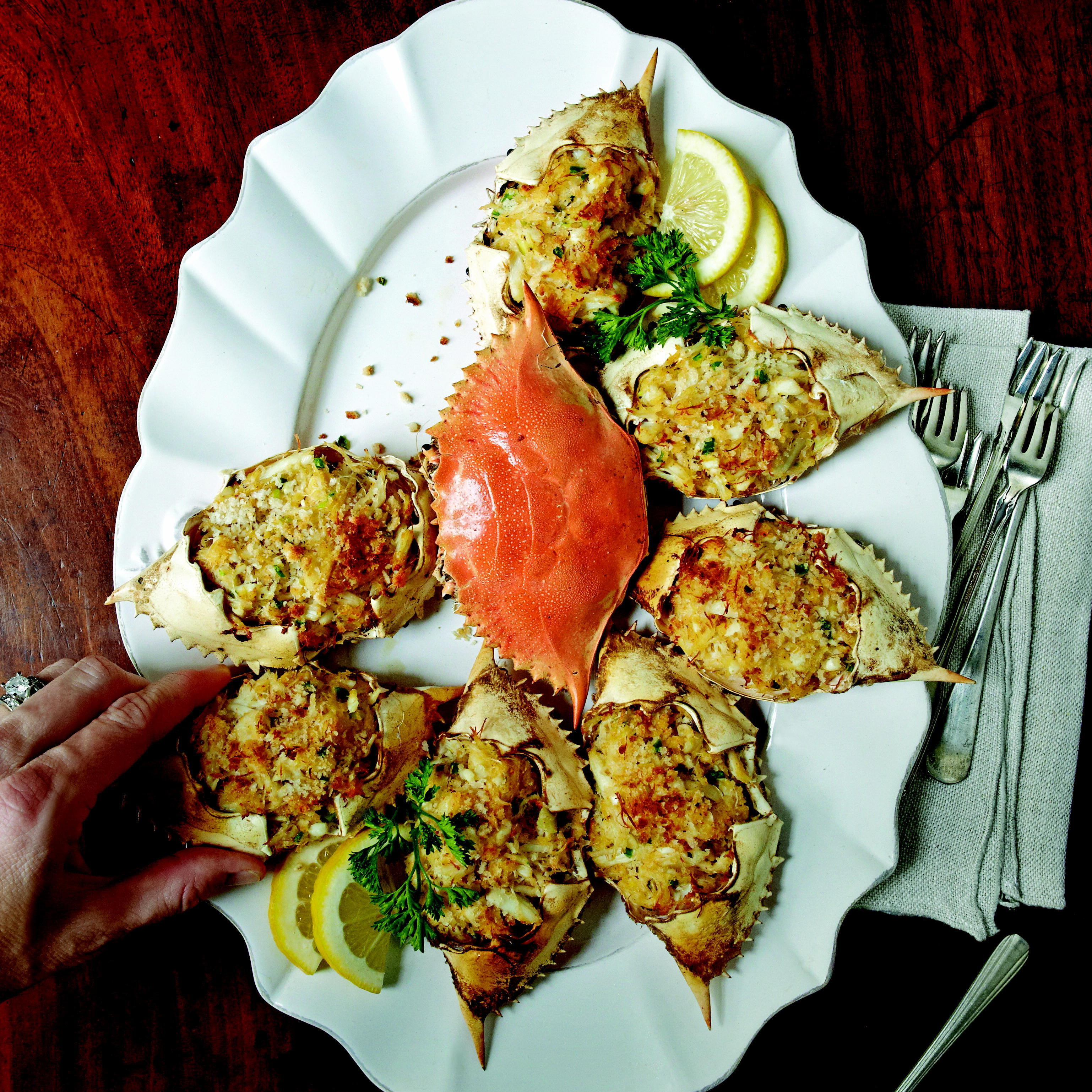 The Lee brothers like to serve deviled crab in baked crab shells, but the same recipe can also be used to make excellent deviled crab cakes.
