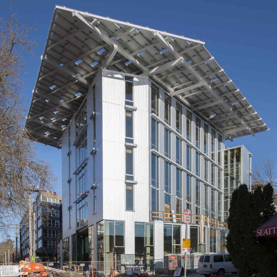 This Seattle building, a project by the Bullitt Foundation, is said to be the world's greenest office building. It uses a weather station to conserve energy, creates light
