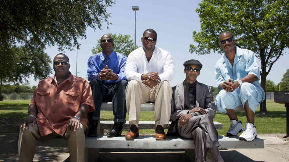 Dallas exonerees (from left) Claude A. Simmons Jr., Thomas McGowan, Christopher Scott, Johnnie Lindsey and Richard Miles. The group is now working to get other wrongfully convicted prisoners freed.