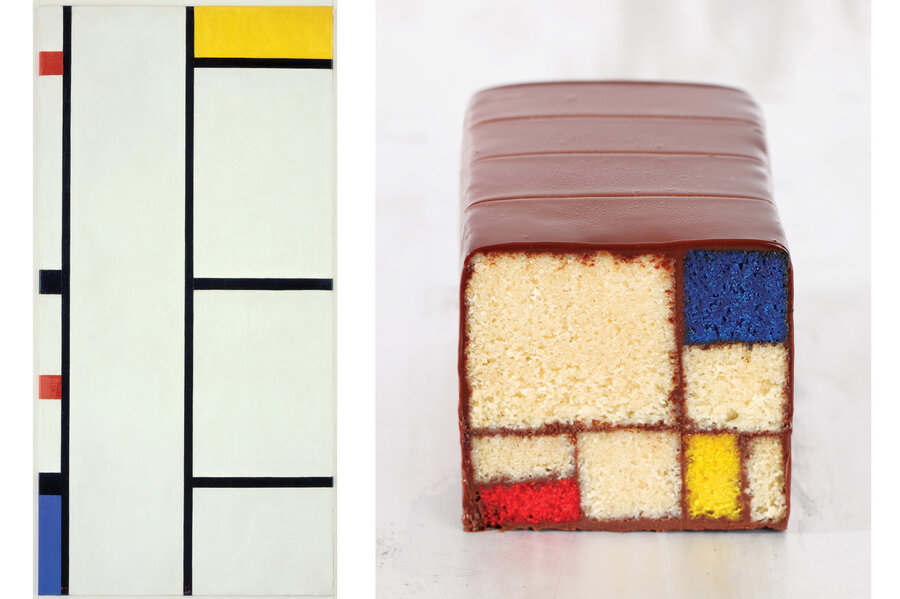 Left: One of Piet Mondrian's grid-like color block compositions. Right:  Caitlin