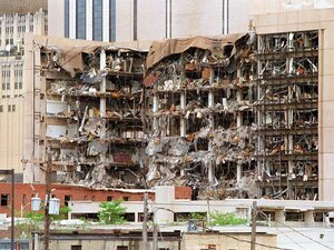 Oklahoma City Bombing: The Albert P. Murrah Federal Building shows the devastation caused by a fuel and fertilizer truck bomb on April 19, 1995. The blast killed 168 people and injured more than 500.