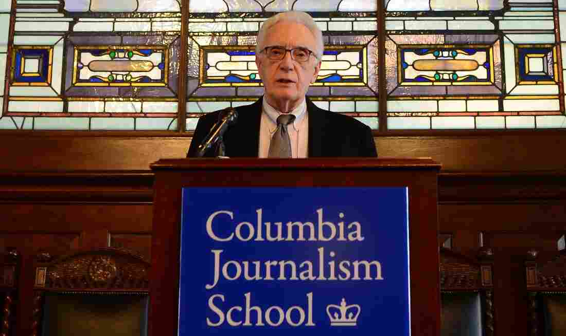 Sig Gissler, administrator of the Pulitzer Prizes, announces the winners Monday at Columbia University in New York.