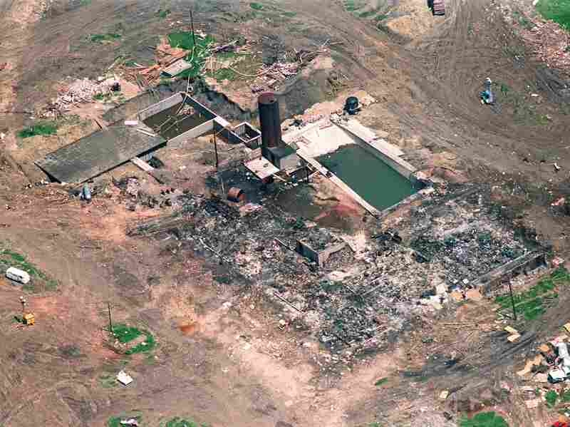 Branch Davidian: This aerial shot shows the burned remains of the cult compound April 21, 1993, in Waco, Texas.