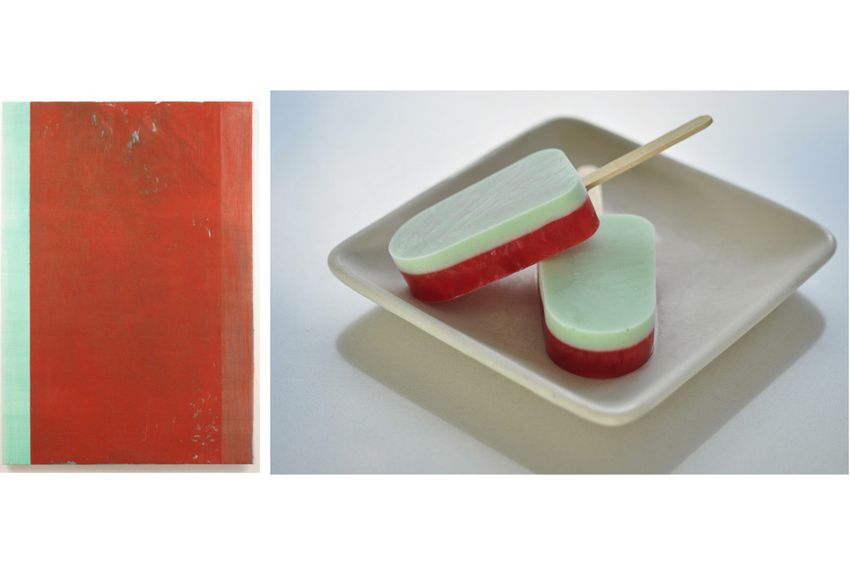 John Zurier's minimalist painting Arabella (2005) inspired these simple strawberry-and-mint popsicles.