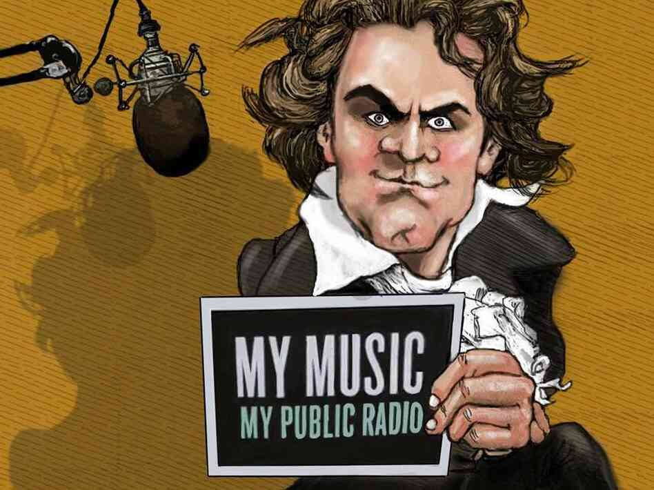 Even Beethoven loves public radio. Drawing by Maxine Frost from Seattle's Classical KING FM 98.1.