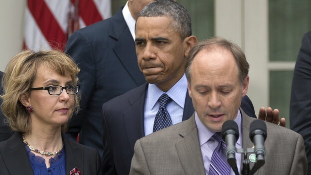 "Mark Barden, the father of a young Newtown, Conn., shooting victim, speaks at a White House news conference on Wednesday, with President Obama and former Rep. Gabby Giffords. Obama denounced the Senate's defeat of a measure to expand background checks for gun buyers. ""This was a pretty shameful day in Washington,"" h"