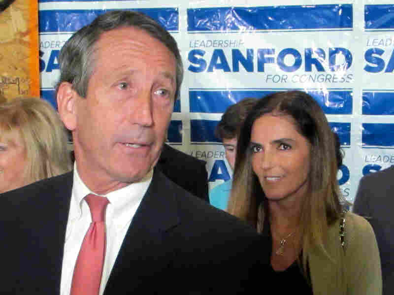Former South Carolina Gov. Mark Sanford, with his fiancee Maria Belen Chapur, addresses supporters in Mount Pleasant, S.C., on April 2, after winning the GOP nomination for the U.S. House seat he once held. Two days after the May 7 special election, Sanford is scheduled to appear in court on a trespassing complaint from his former wife.