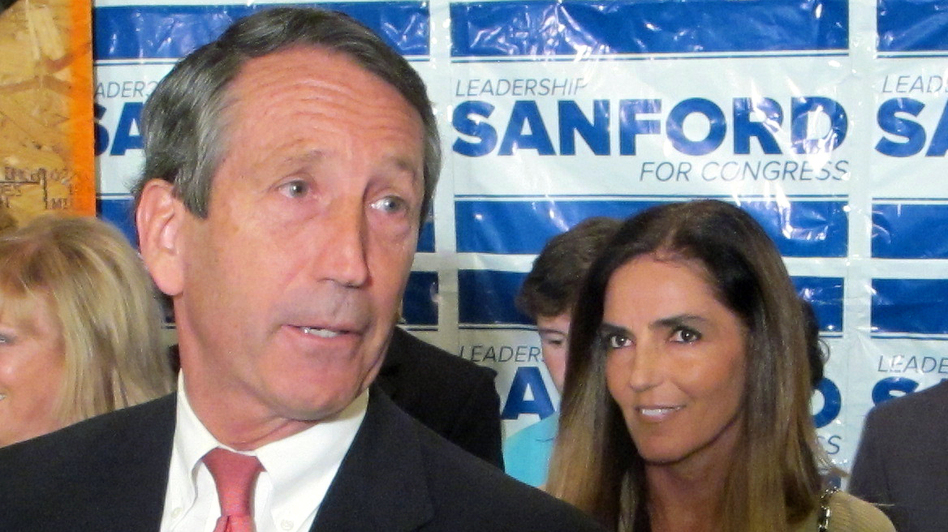 Former South Carolina Gov. Mark Sanford, with his fiancee Maria Belen Chapur, addresses supporters in Mount Pleasant, S.C., on April 2, after winning the GOP nomination for the U.S. House seat he once held. Two days after the May 7 special election, Sanford is scheduled to appear in court on a trespassing complaint from his former wife. (AP)
