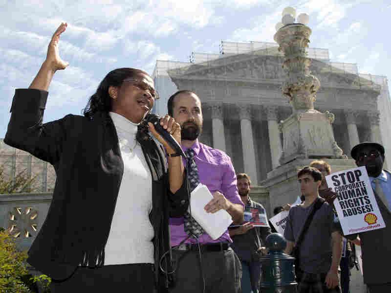Nigerian widow Esther Kiobel, a plaintiff in Kiobel v. Royal Dutch Petroleum, cries as she speaks outside the Supreme Court in October 2012.