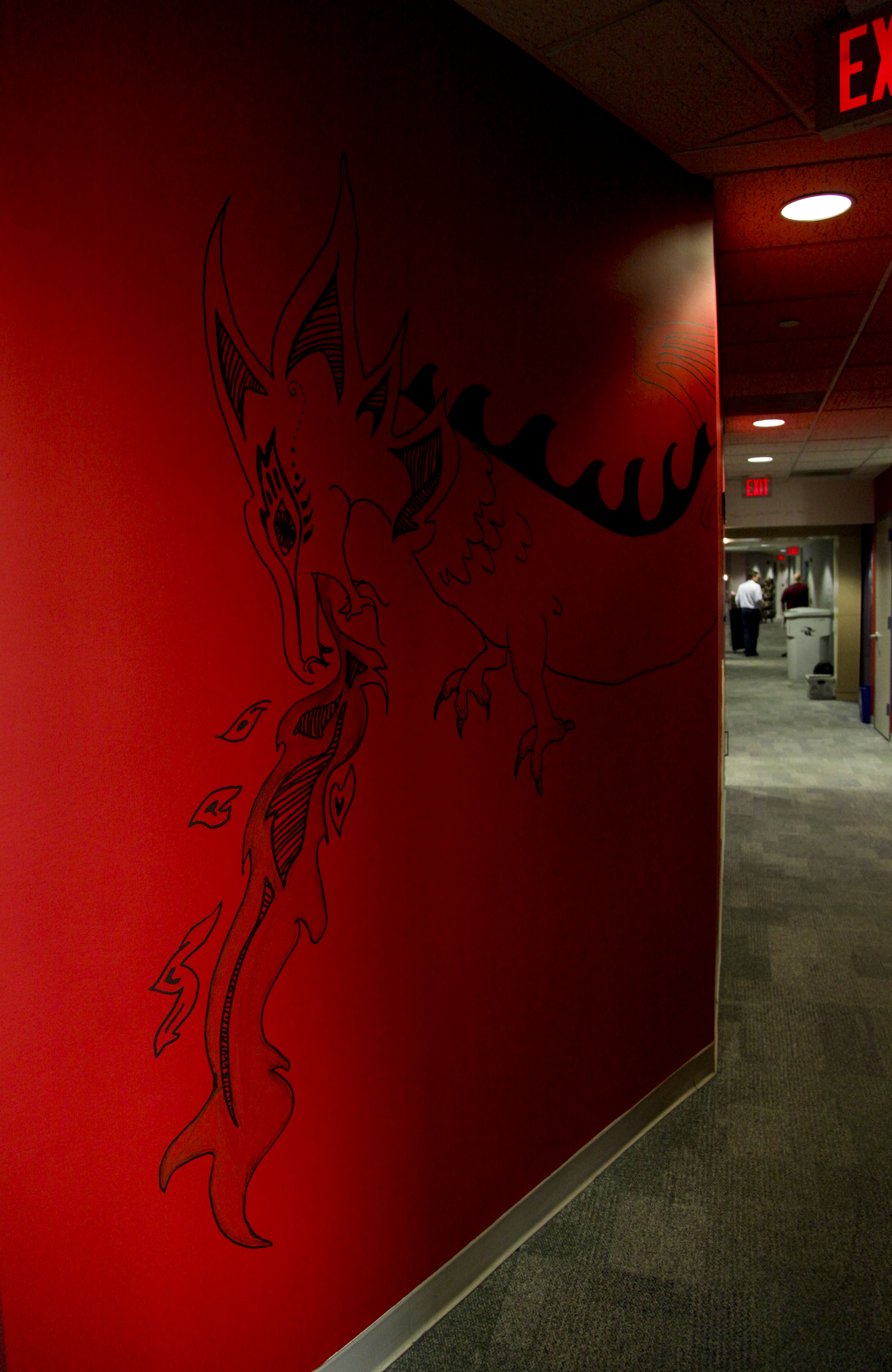 The NPR Music dragon guards the hallway.