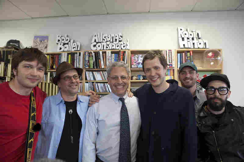 OK Go band members pose with NPR Music's Bob Boilen and Knell. Ross (left), Boilen, Knell, Kulash, Konopka and Nordwind
