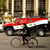 Pro-Assad, flag-painted Hummers are often seen driving throughout Damascus blasting patriotic songs and regime slogans. These two vehicles were photographed at the site of blasts earlier this month near Syria's central bank.
