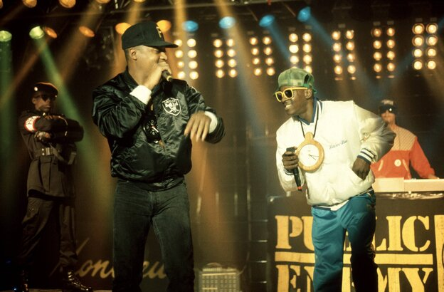 Public Enemy on stage in 1988. The group will be inducted into the Rock and Roll Hall of fame Thursday.