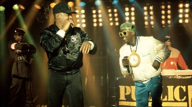 Public Enemy on stage in 1988. The group will be inducted into the Rock and Roll Hall of fame Thursday. (Redferns/Getty Images)