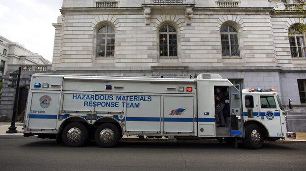 A Hazardous Materials Response Team (HAZMAT) truck outside the Russell Senate Office Building in Washington, D.C., on Wednesday.