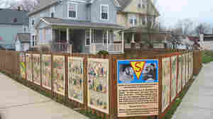 Panels from Action Comics No. 1, the first Superman comic, adorn the site of illustrator Joe Shuster's former apartment building, long since demolished.
