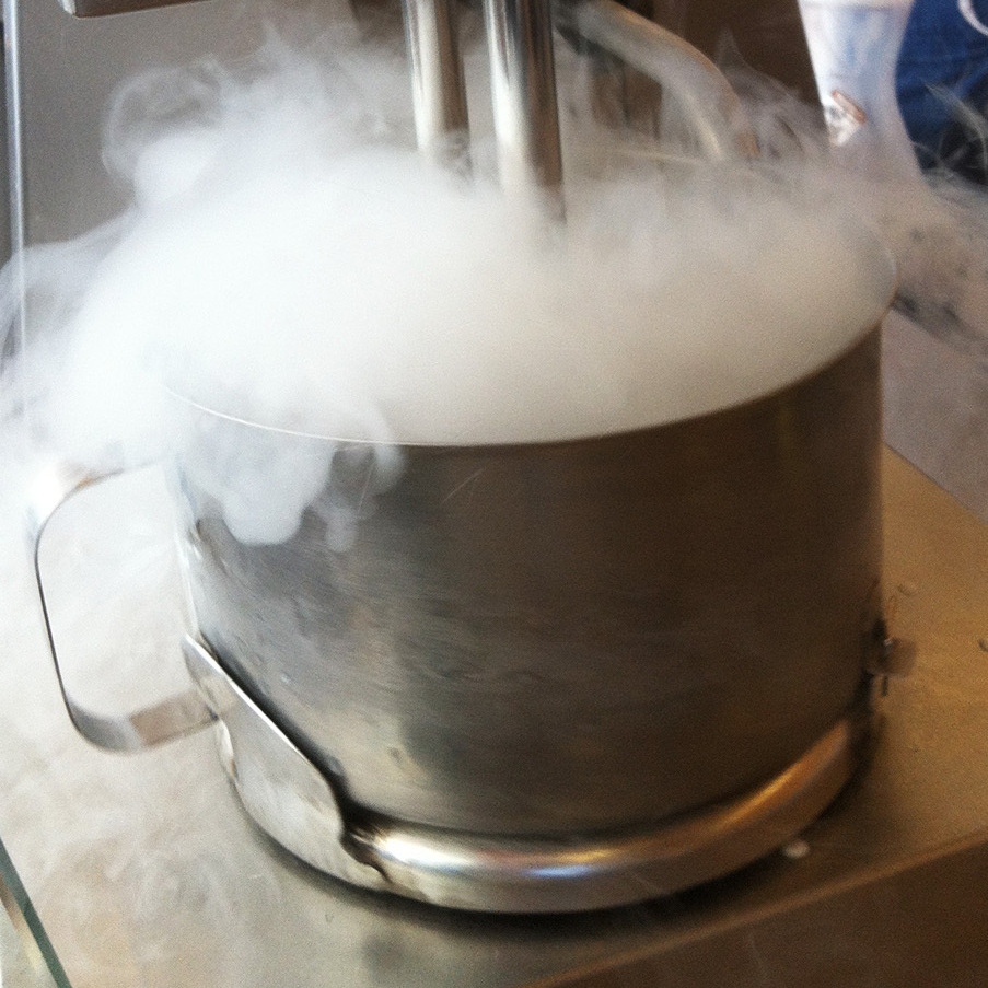 The store uses a patented machine to keep ingredients churning and mix in the liquid nitrogen in a safe, controlled manner.
