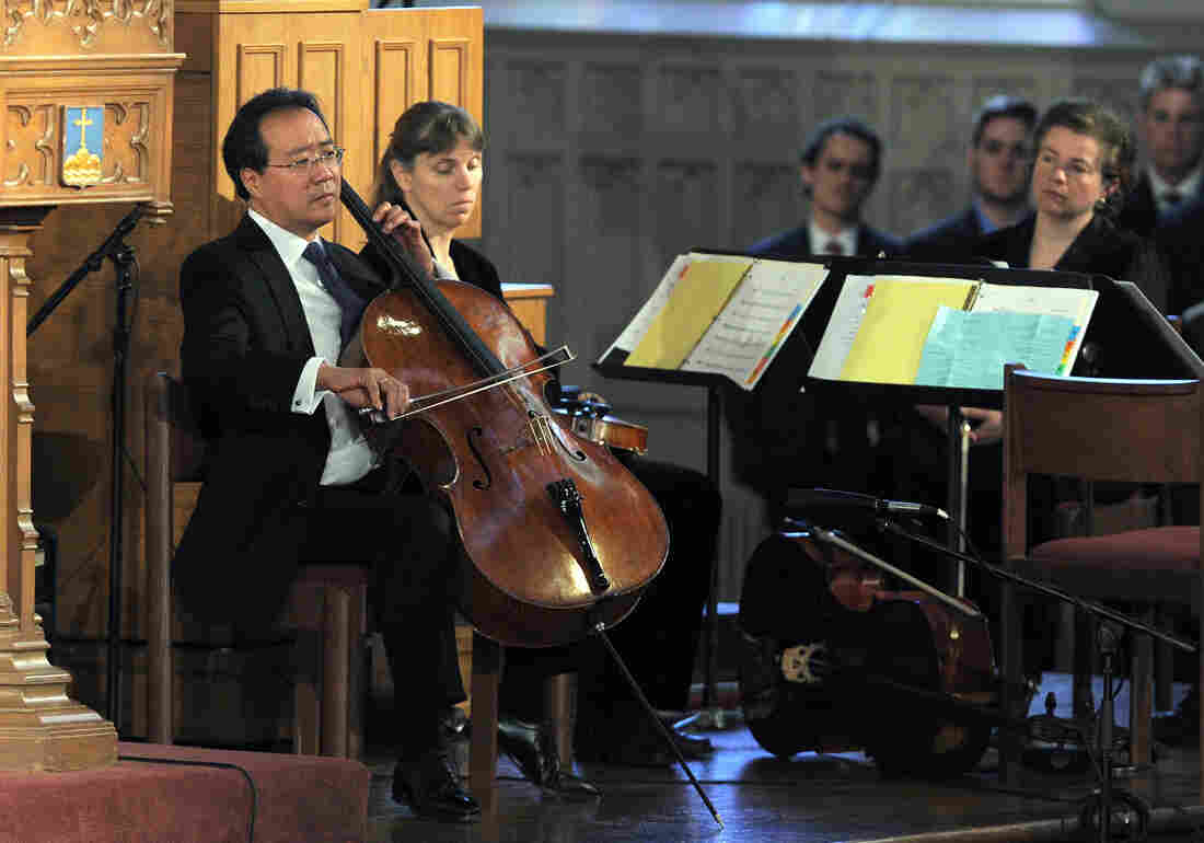 "Musician Yo-Yo Ma performs during ""Healing Our City: An Interfaith Service"" dedicated to those who were gravely wounded or killed in the Boston Marathon bombing."