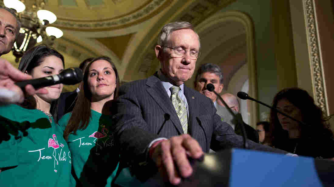 Senate Majority Leader Harry Reid, D-Nev., speaks after losing a vote on broader background checks for gun buyers, Wednesday at the Capitol.
