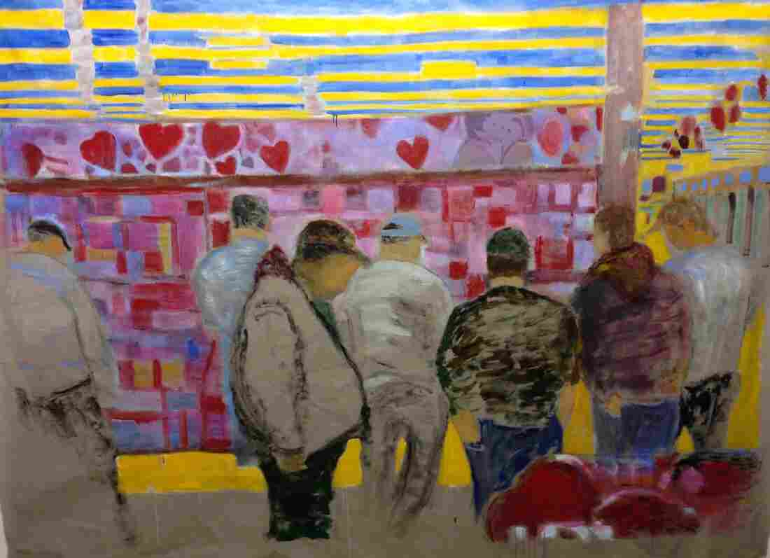 O'Connell also crowdsources the photographs he uses as fodder for his paintings. This piece, which shows men buying candies and Valentine's Day cards for their sweethearts, was based on a  submission.