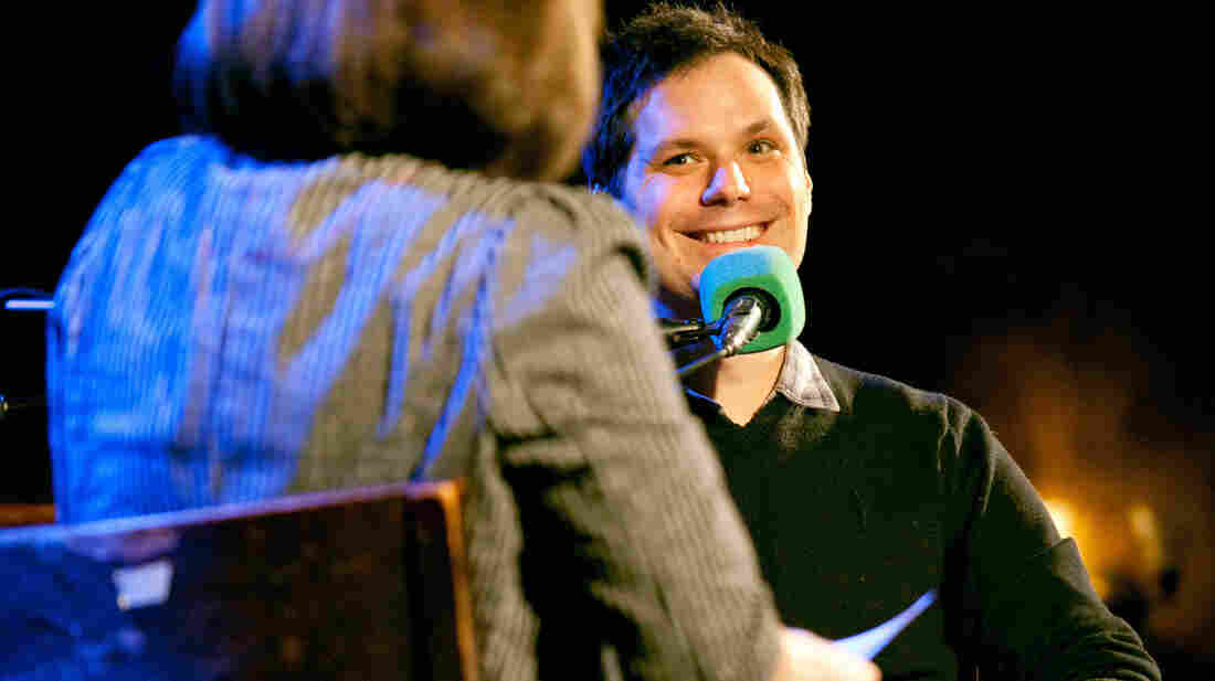 Host Ophira Eisenberg interviews V.I.P. (Very Important Puzzler) Michael Ian Black.