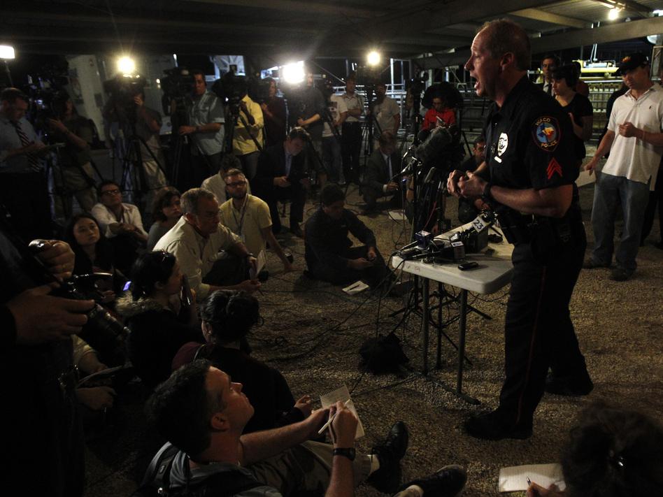 Waco Police spokesman William Swanton speaks at a media conference regarding the explosion. (Reuters /Landov)