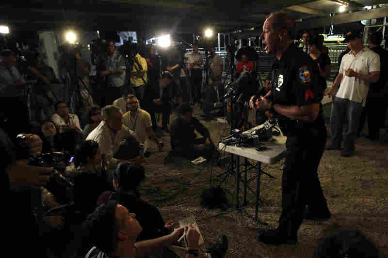 Waco Police spokesman William Swanton speaks at a media conference regarding the explosion.