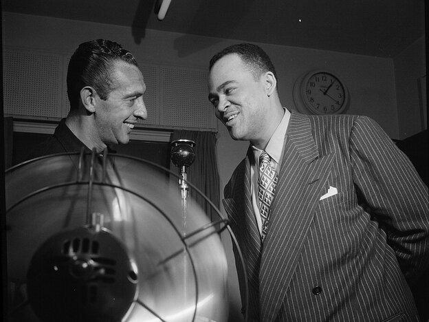 Symphony Sid Torin (left) hosts a program at WHOM featuring the saxophonist Arnett Cobb.