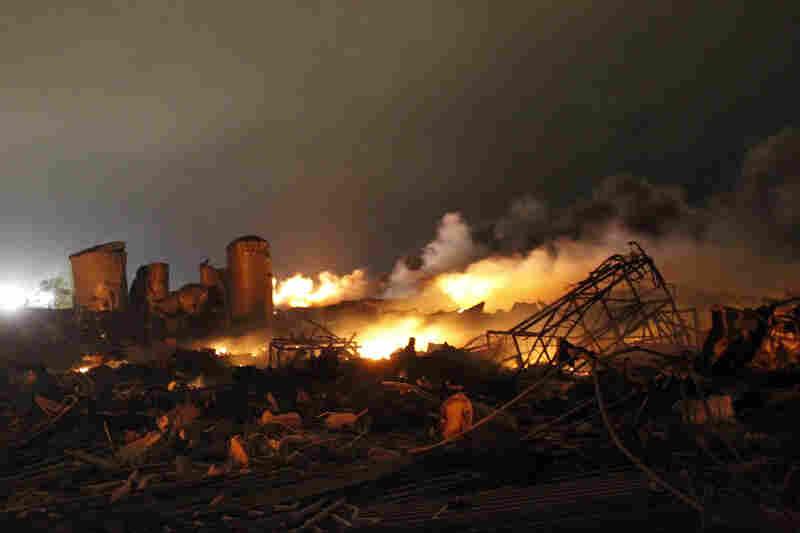 The remains of a fertilizer plant burn.