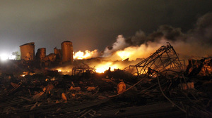 The remains of a fertilizer plant burn.