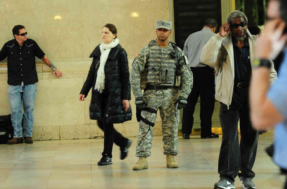 A U.S. soldier patrols at Grand Central station in New York on Tuesday. Safety c