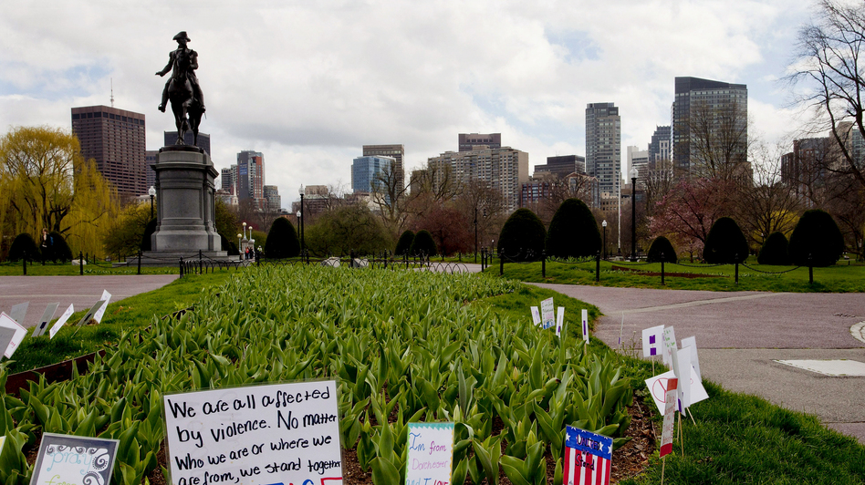 Boston's Public Garden was devoid of people midday Friday. Mayor Thomas Menino and Massachusetts Gov. Deval Patrick asked all residents of Boston and several surrounding towns to remain at home as investigators searched for a suspect in the marathon bombings. (EPA/Landov)
