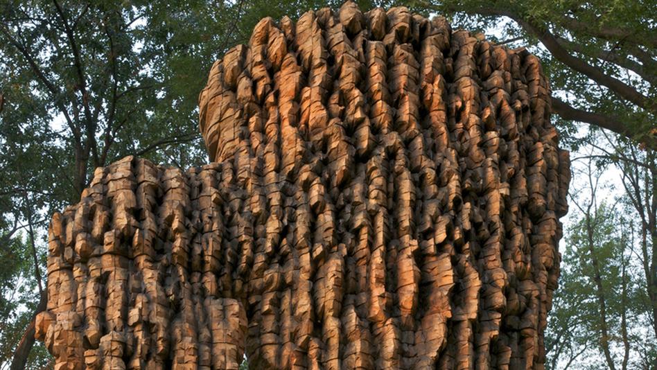 "Luba, 2010. Cedar, graphite, bronze. 212"" x 139"" x 88"". (Ursula von Rydingsvard/Galerie Lelong)"