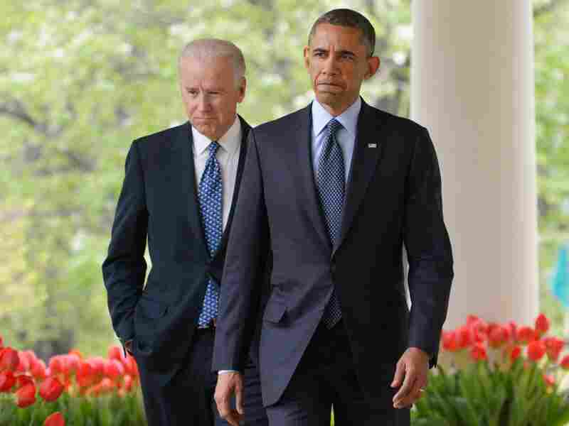 President Barack Obama and Vice President Joe Biden just before delivering remarks on  gun control.