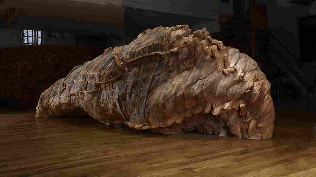 "Ocean Voices, 2012. Cedar, graphite. 53"" x 185"" x 67""."