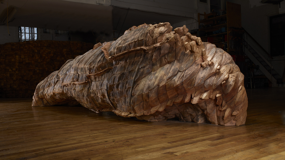 "Ocean Voices, 2012. Cedar, graphite. 53"" x 185"" x 67"". (Ursula von Rydingsvard/Galerie Lelong)"