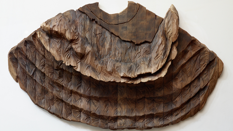 "Ursula von Rydingsvard's Oddychajaca is currently on view in Manhattan at the Museum of Art and Design's exhibit ""Against the Grain."" ""I don't want the cuteness associated with the wood,"" she says, ""or even the nostalgia."" (Ursula von Rydingsvard/Galerie Lelong)"
