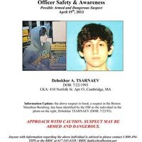 The Boston Regional Intelligence Center early Friday released this wanted poster showing Dzhokhar A. Tsarnaev, one of the suspects in the Boston Marathon bombings. He survived and firefight with police and was on the run.