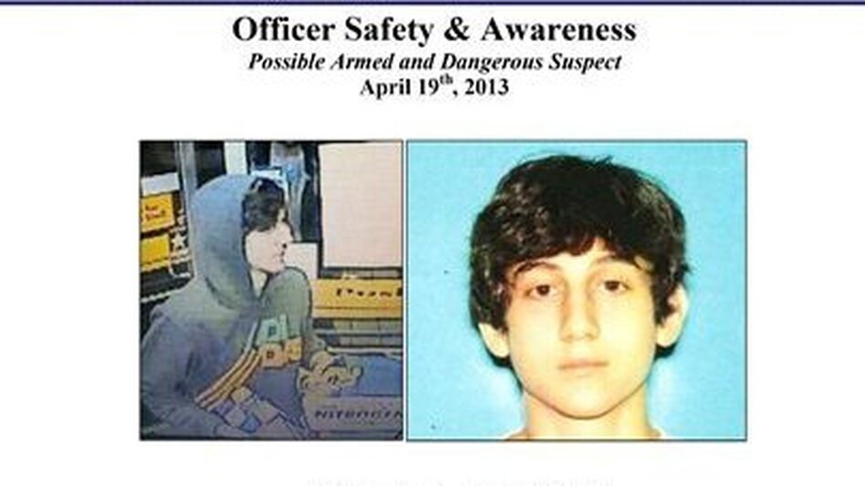 The Boston Regional Intelligence Center early Friday released this wanted poster showing Dzhokhar A. Tsarnaev, one of the suspects in the Boston Marathon bombings. He survived and firefight with police and was on the run. (AP)