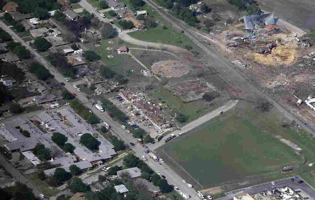 An aerial photo of West, Texas, shows the remains of a nursing home (from left), apartment complex and fertilizer plant destroyed in an explosion at the plant Wednesday.