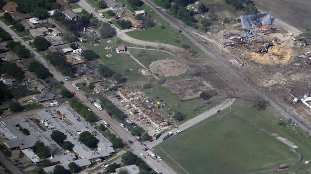 An aerial photo of West, Texas, shows the remains of a nursing home (from left), apartment complex and fertilizer plant destroyed in an explosion at the plant Wednesday. (AP)