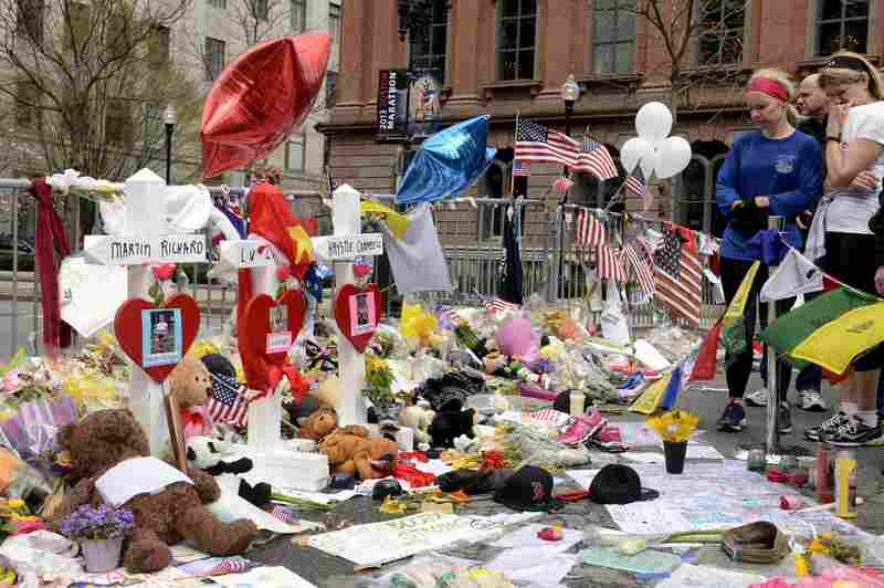 A memorial honors the victims of Monday's bombings near the Boston Marathon finish line on Saturday.
