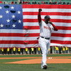 David Ortiz, No. 34 of the Boston Red Sox, speaks during a pre-game ceremony in honor of the victims of the marathon bombings at Fenway Park on Saturday in Boston.