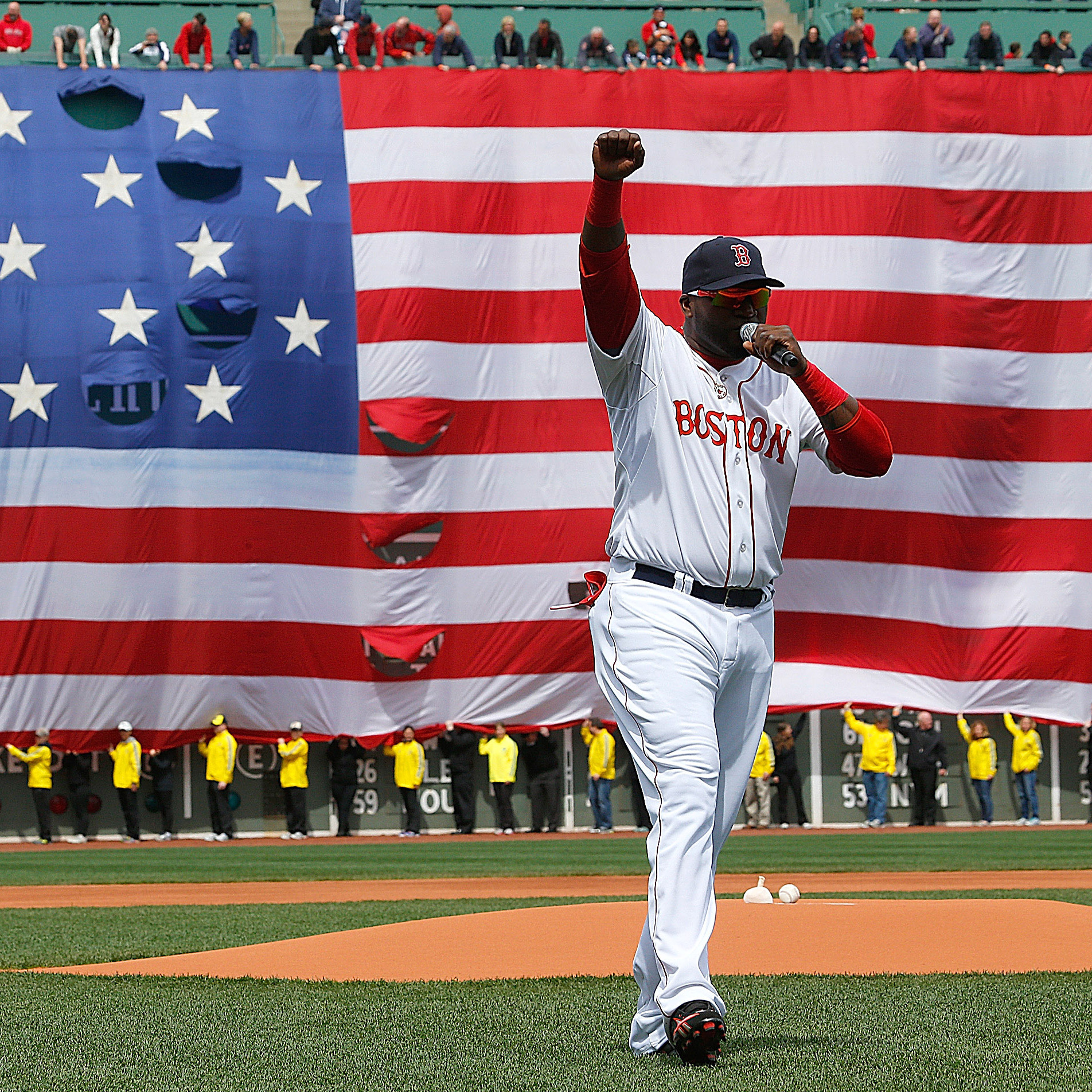 David Ortiz of the Boston Red Sox speaks during a pre-game ceremony in honor of the victims of the marathon bombings at Fenway Park on Saturday.