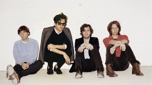 Phoenix's latest album is called Bankrupt! Left to right: Thomas Mars, Laurent Brancowitz, Christian Mazzalai, Deck d'Arcy.