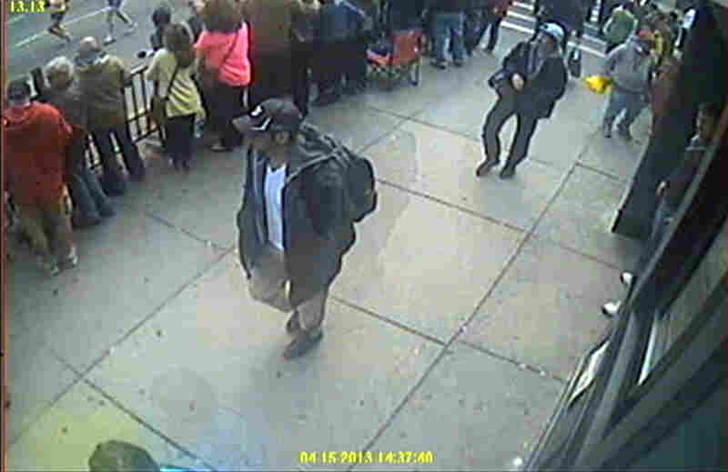 The FBI released this image of the bombing suspects on Thursday.