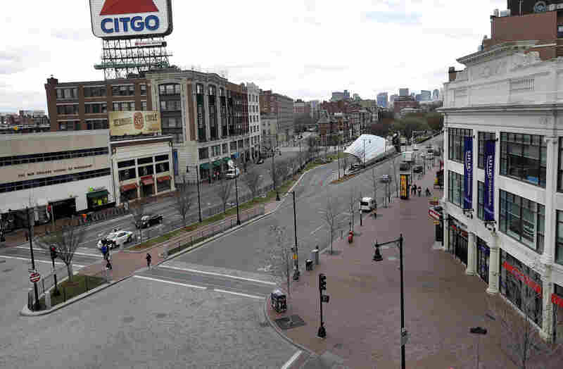 """The usually busy Kenmore Square in Boston is deserted on Thursday during a call for """"shelter-in-place"""" for Boston and some area communities."""