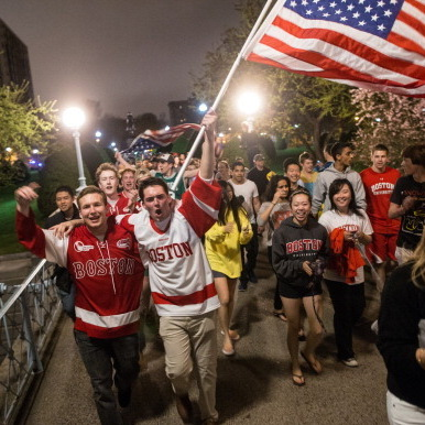 In Boston late Friday, relieved residents poured into the streets to celebrate after the capture of the suspect in the marathon bombings. The city and surrounding suburbs had been shut down on Friday during the manhunt.