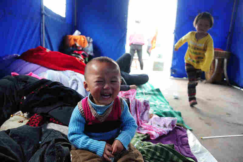 Displaced families occupy tents in the temporary settlement.